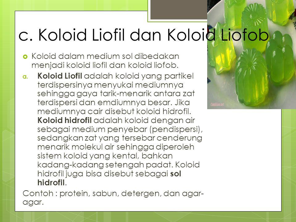 c. Koloid Liofil dan Koloid Liofob