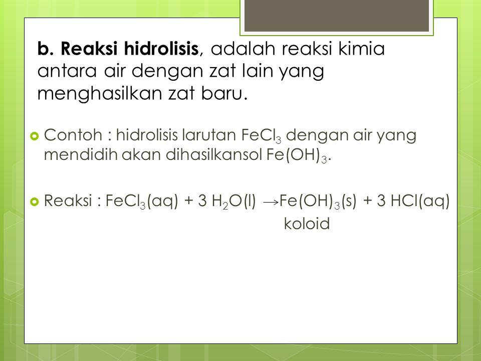 b. Reaksi hidrolisis, adalah reaksi kimia antara air dengan zat lain yang menghasilkan zat baru.