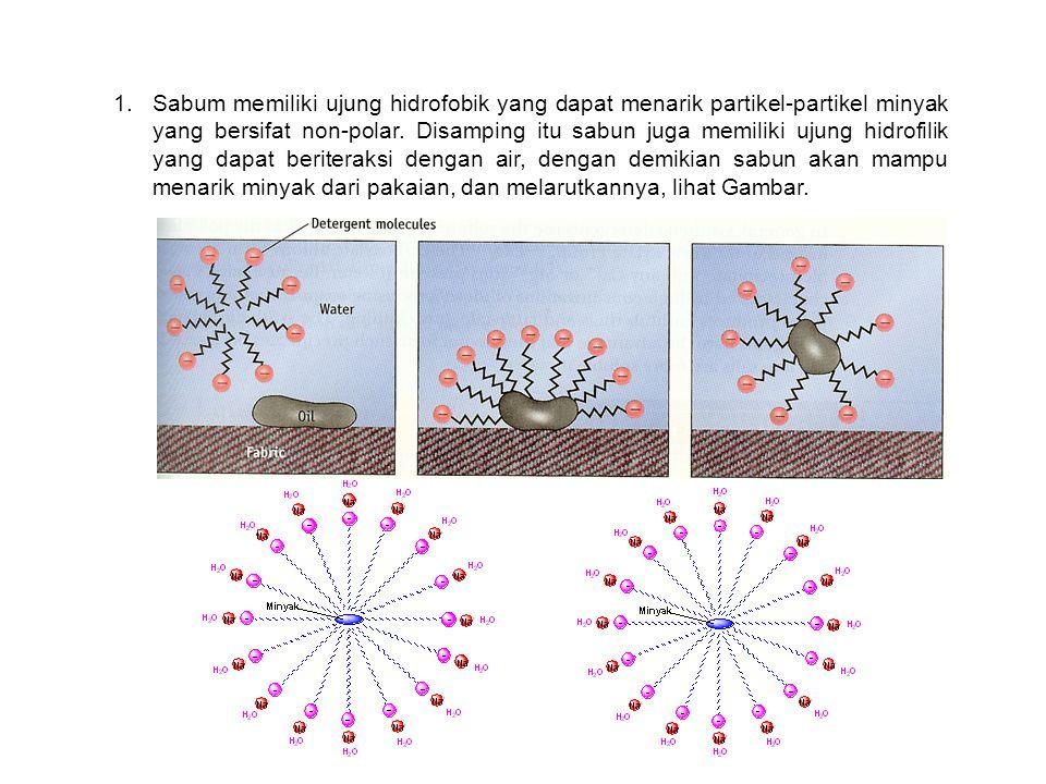 Sabum memiliki ujung hidrofobik yang dapat menarik partikel-partikel minyak yang bersifat non-polar.