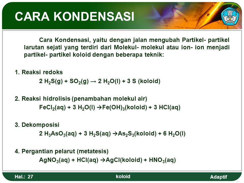 CARA KONDENSASI 1. Reaksi redoks