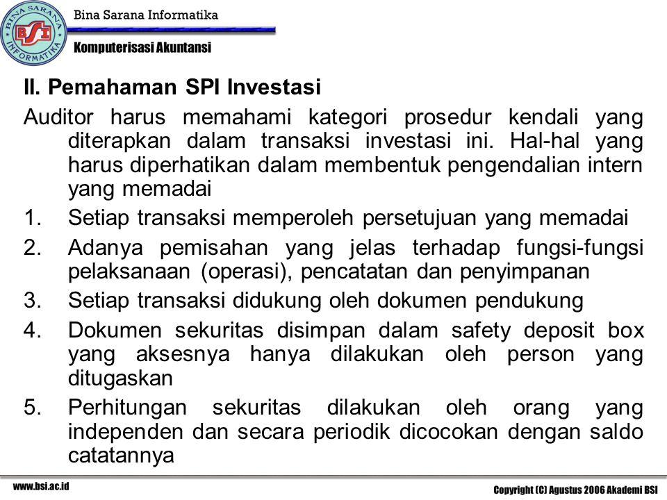 II. Pemahaman SPI Investasi