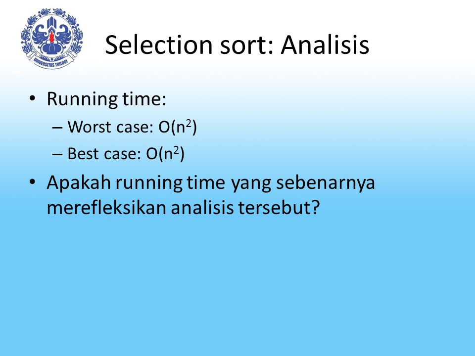 Selection sort: Analisis