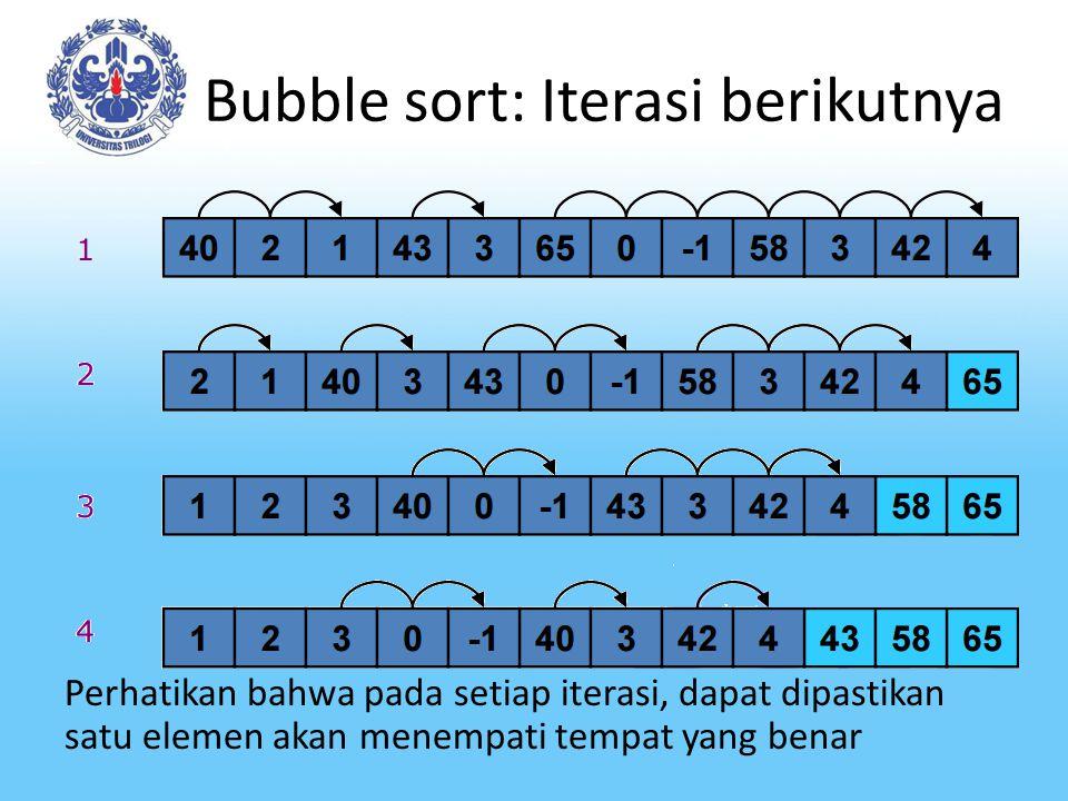 Bubble sort: Iterasi berikutnya