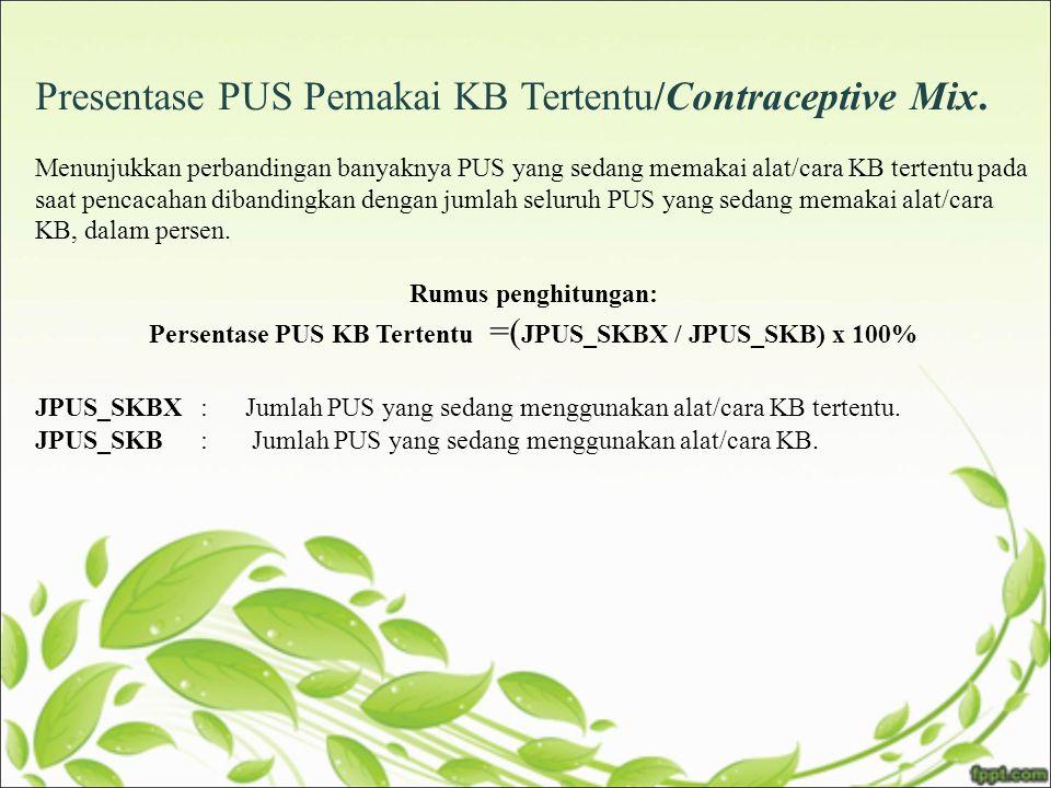 Persentase PUS KB Tertentu =(JPUS_SKBX / JPUS_SKB) x 100%