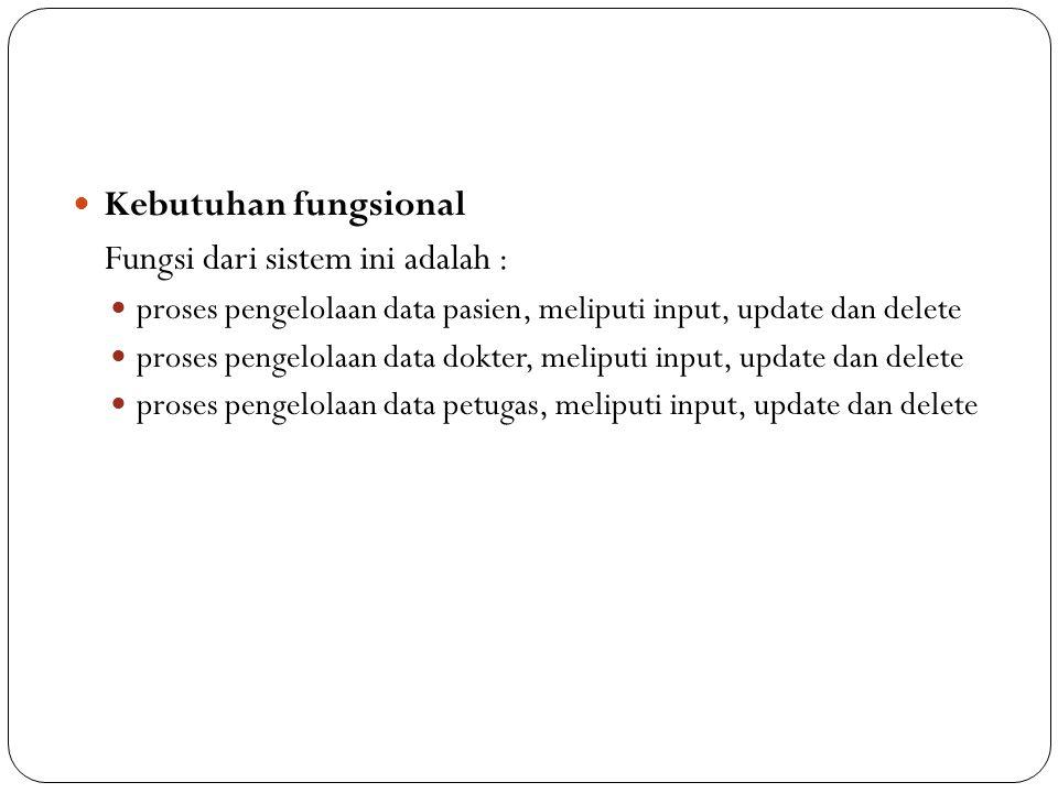 Fungsi dari sistem ini adalah :