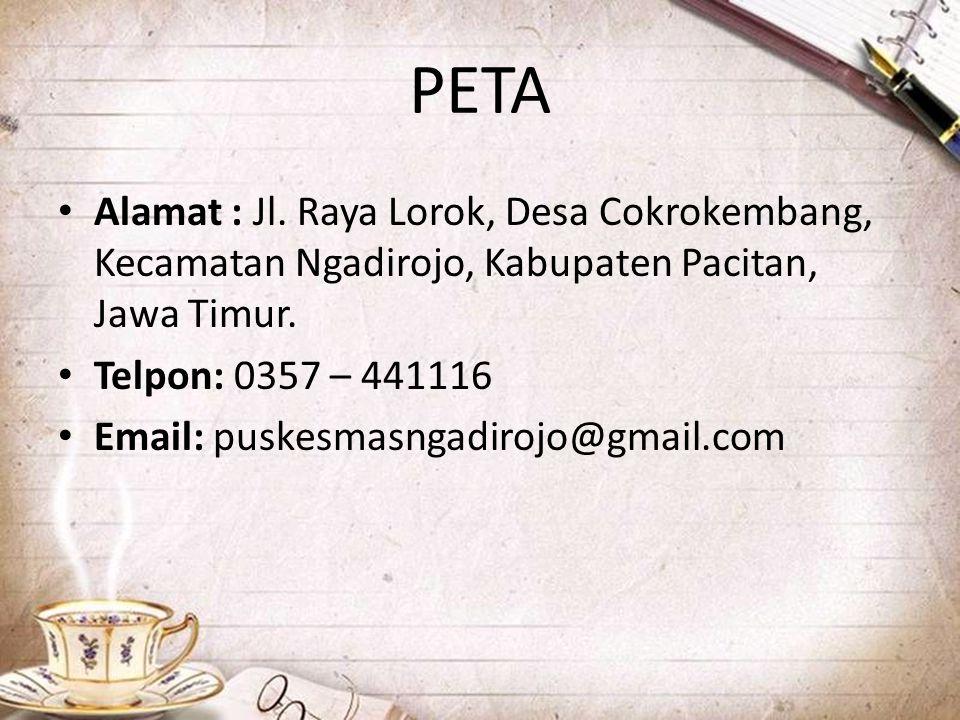 PETA Alamat : Jl. Raya Lorok, Desa Cokrokembang, Kecamatan Ngadirojo, Kabupaten Pacitan, Jawa Timur.