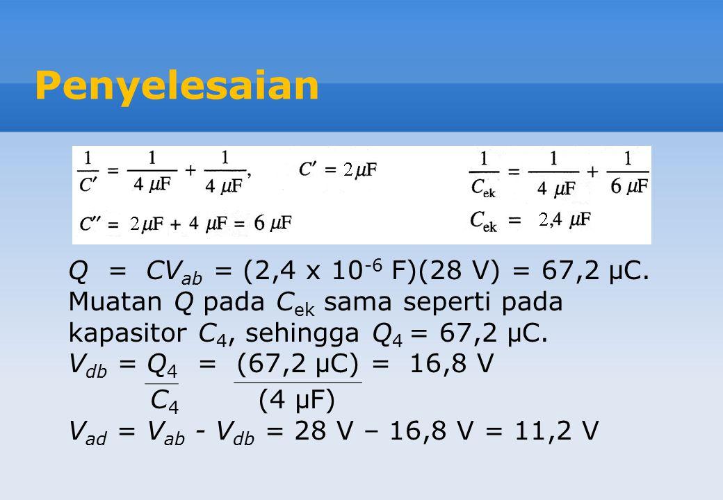 Penyelesaian Q = CVab = (2,4 x 10-6 F)(28 V) = 67,2 μC.