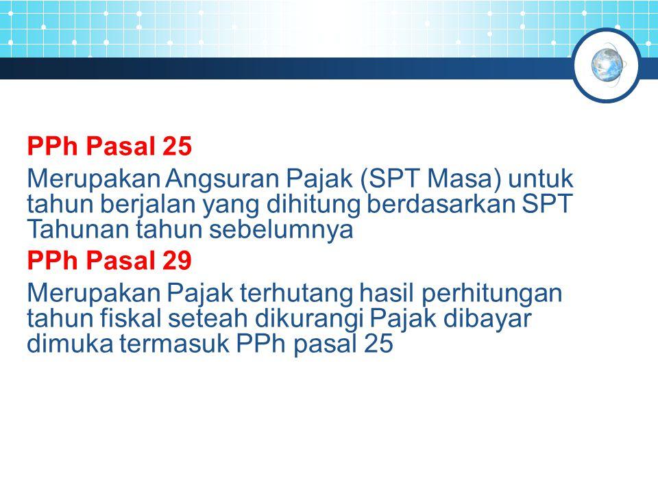 PPh Pasal 25 Merupakan Angsuran Pajak (SPT Masa) untuk tahun berjalan yang dihitung berdasarkan SPT Tahunan tahun sebelumnya.