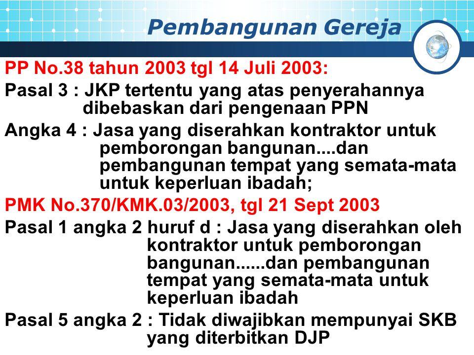 Pembangunan Gereja PP No.38 tahun 2003 tgl 14 Juli 2003: