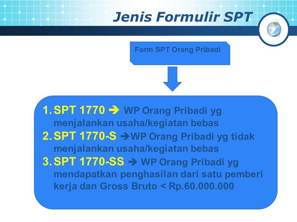 Jenis Formulir SPT Form SPT Orang Pribadi. SPT 1770  WP Orang Pribadi yg menjalankan usaha/kegiatan bebas.