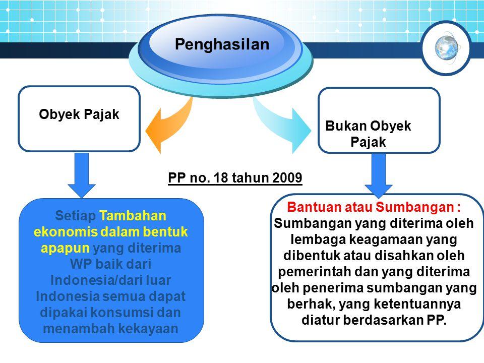 Penghasilan Obyek Pajak Bukan Obyek Pajak PP no. 18 tahun 2009