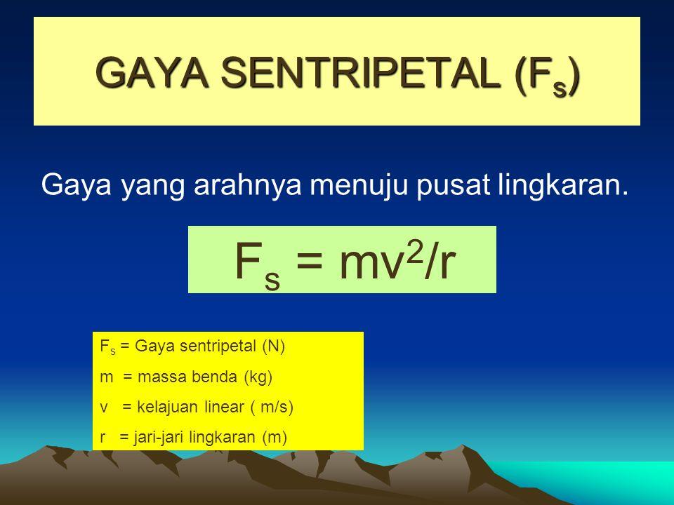 GAYA SENTRIPETAL (Fs) Gaya yang arahnya menuju pusat lingkaran.