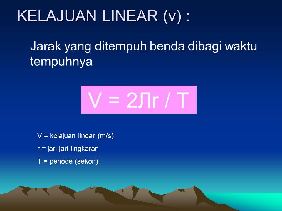 V = 2Лr / T KELAJUAN LINEAR (v) :