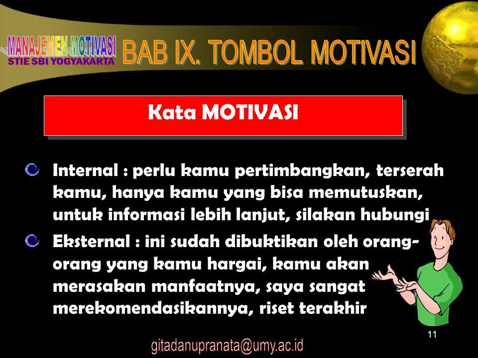 Kata MOTIVASI Internal : perlu kamu pertimbangkan, terserah kamu, hanya kamu yang bisa memutuskan, untuk informasi lebih lanjut, silakan hubungi.