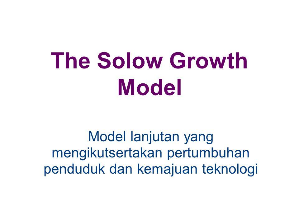 The Solow Growth Model Model lanjutan yang mengikutsertakan pertumbuhan penduduk dan kemajuan teknologi.