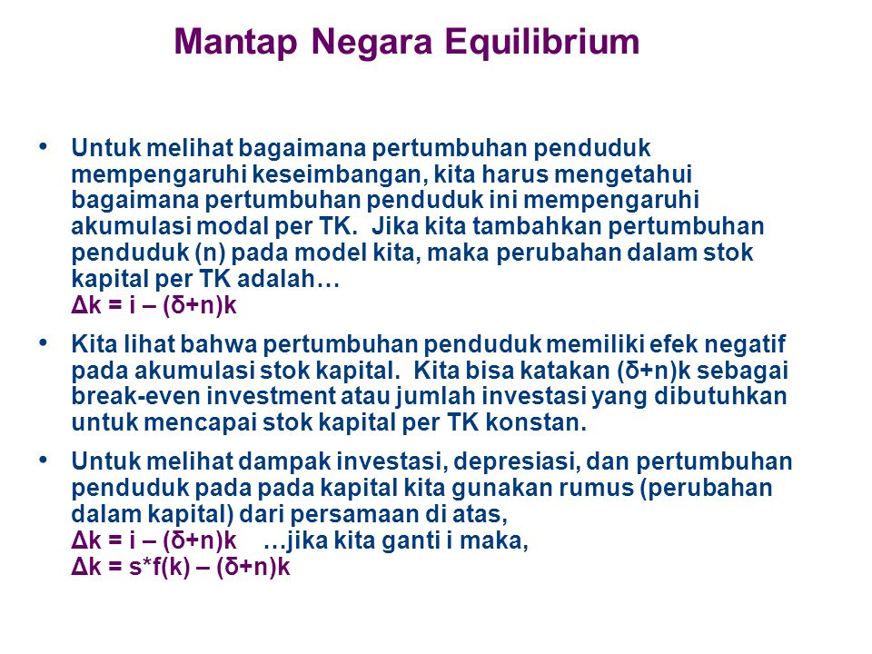 Mantap Negara Equilibrium