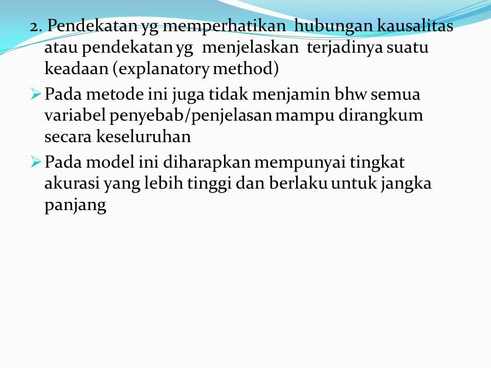 2. Pendekatan yg memperhatikan hubungan kausalitas atau pendekatan yg menjelaskan terjadinya suatu keadaan (explanatory method)