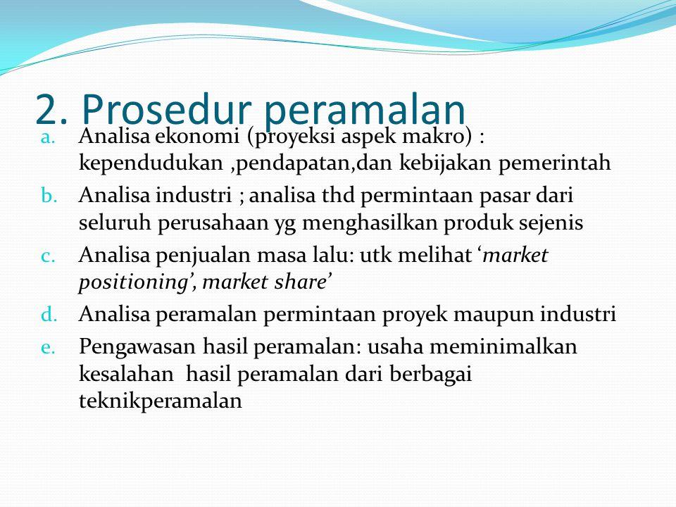 2. Prosedur peramalan Analisa ekonomi (proyeksi aspek makro) : kependudukan ,pendapatan,dan kebijakan pemerintah.