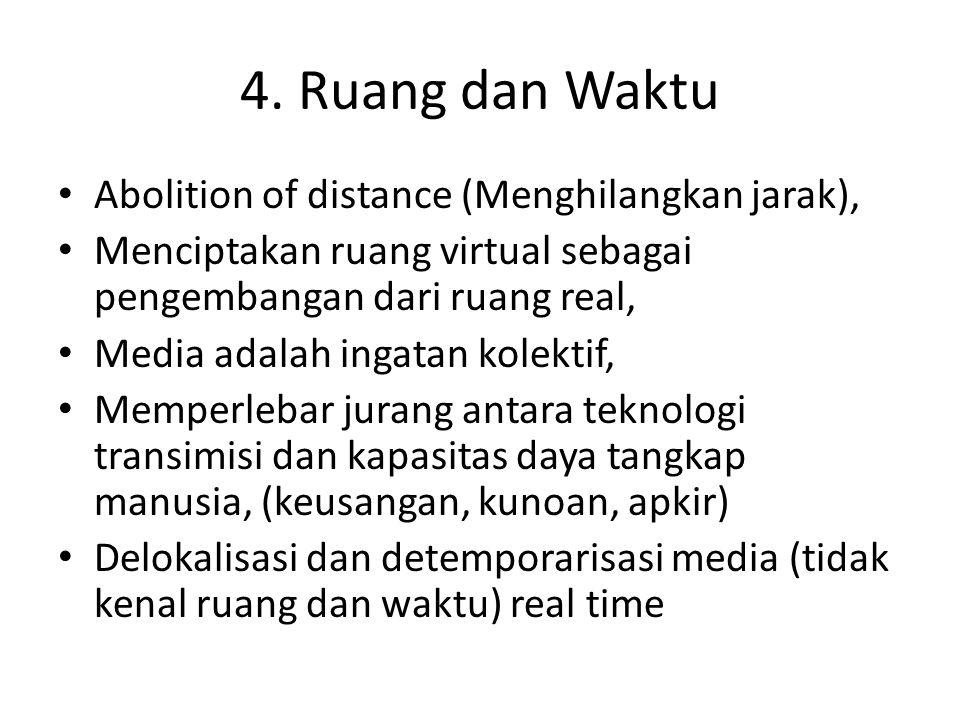 4. Ruang dan Waktu Abolition of distance (Menghilangkan jarak),