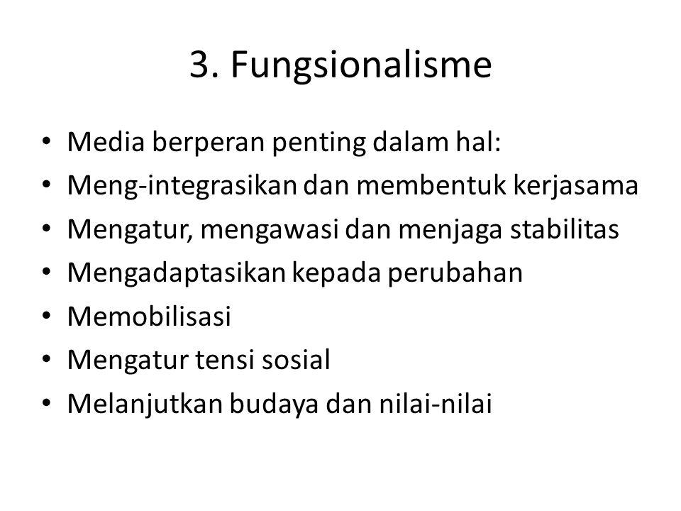 3. Fungsionalisme Media berperan penting dalam hal: