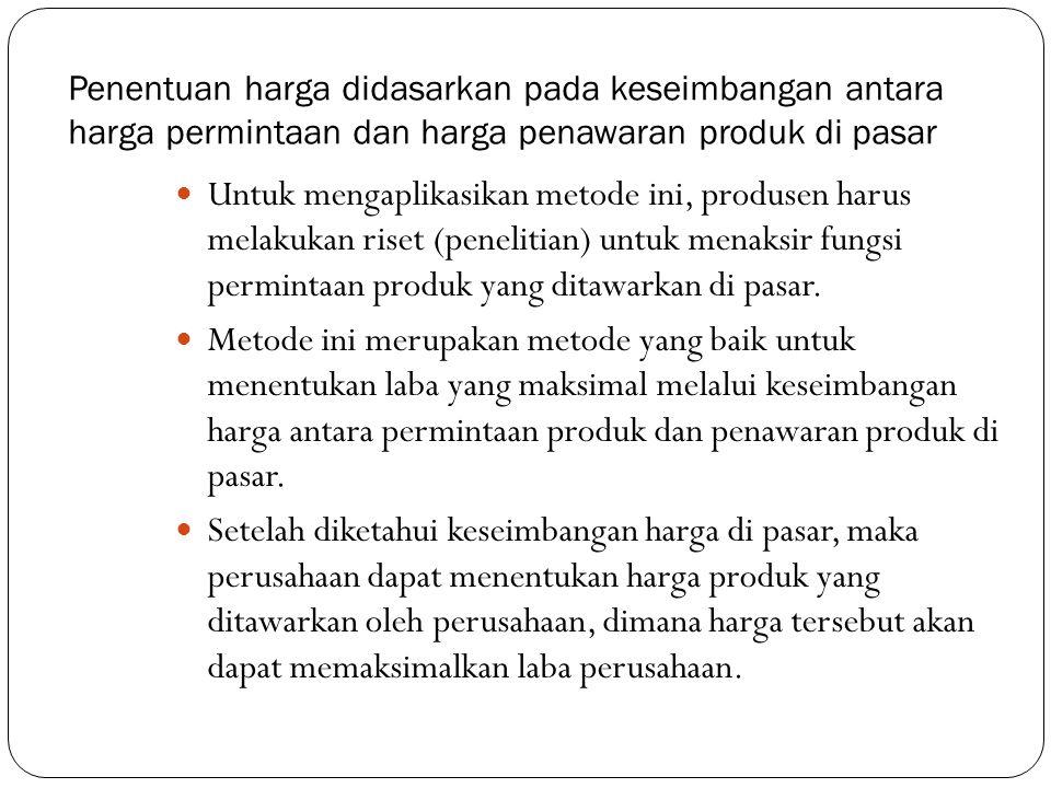 Penentuan harga didasarkan pada keseimbangan antara harga permintaan dan harga penawaran produk di pasar