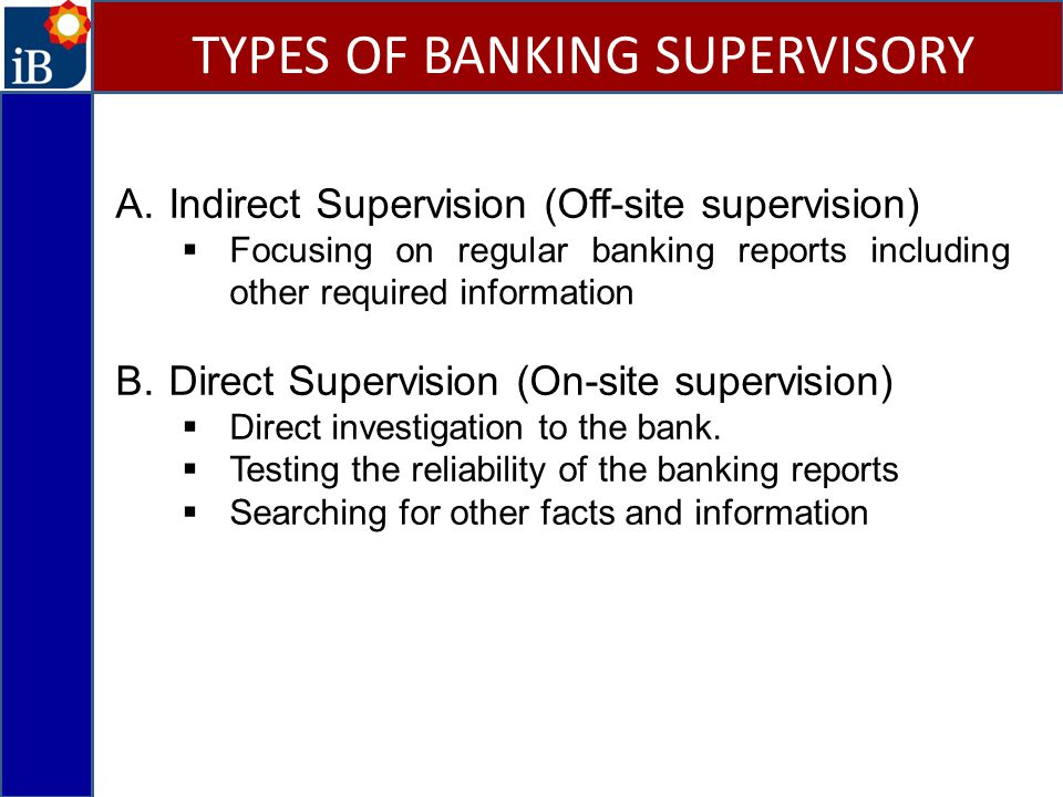 TYPES OF BANKING SUPERVISORY