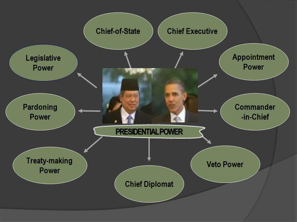 Chief-of-State Chief Executive. Legislative. Power. Appointment. Power. Pardoning. Power. Commander.