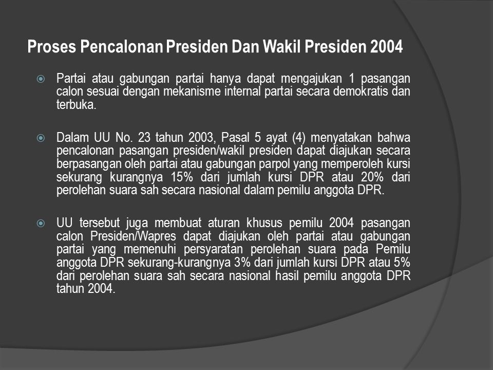 Proses Pencalonan Presiden Dan Wakil Presiden 2004
