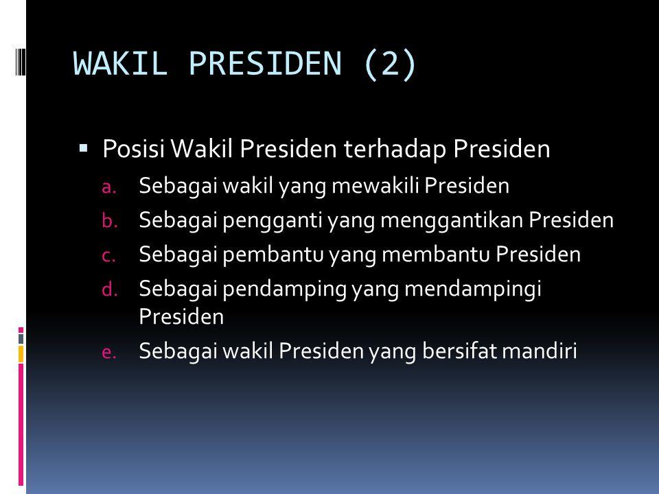 WAKIL PRESIDEN (2) Posisi Wakil Presiden terhadap Presiden