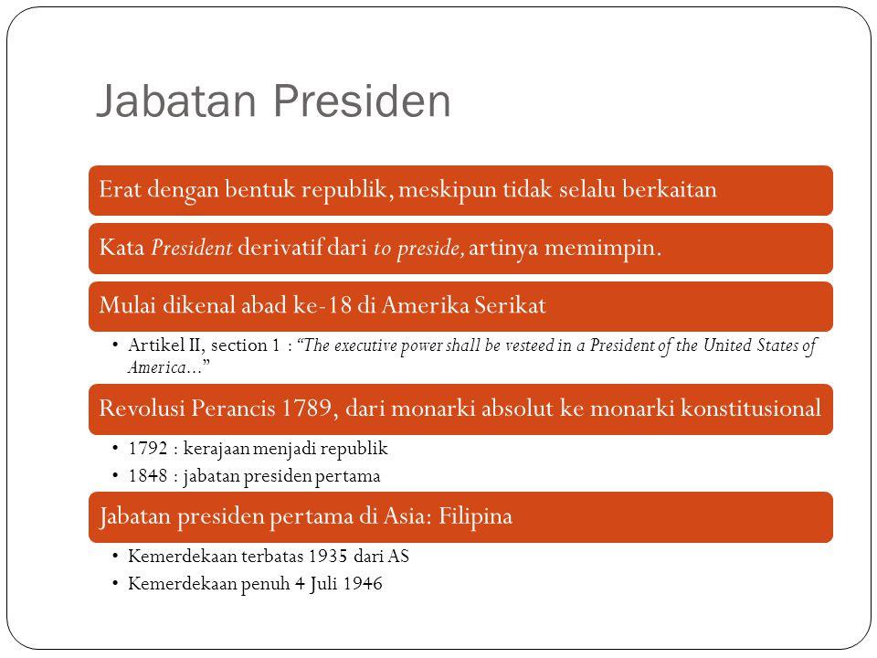 Jabatan Presiden Erat dengan bentuk republik, meskipun tidak selalu berkaitan. Kata President derivatif dari to preside, artinya memimpin.