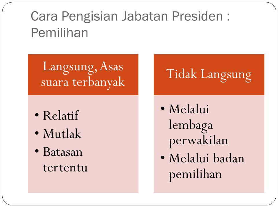 Cara Pengisian Jabatan Presiden : Pemilihan