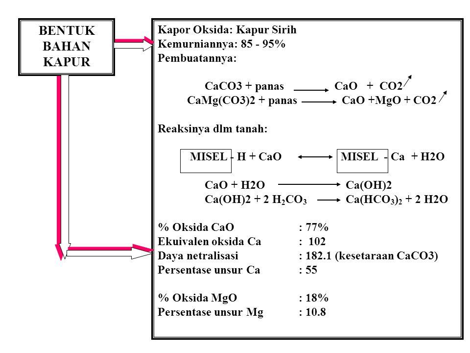 BENTUK BAHAN KAPUR Kapor Oksida: Kapur Sirih Kemurniannya: 85 - 95%