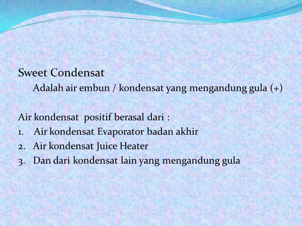 Sweet Condensat Air kondensat positif berasal dari :