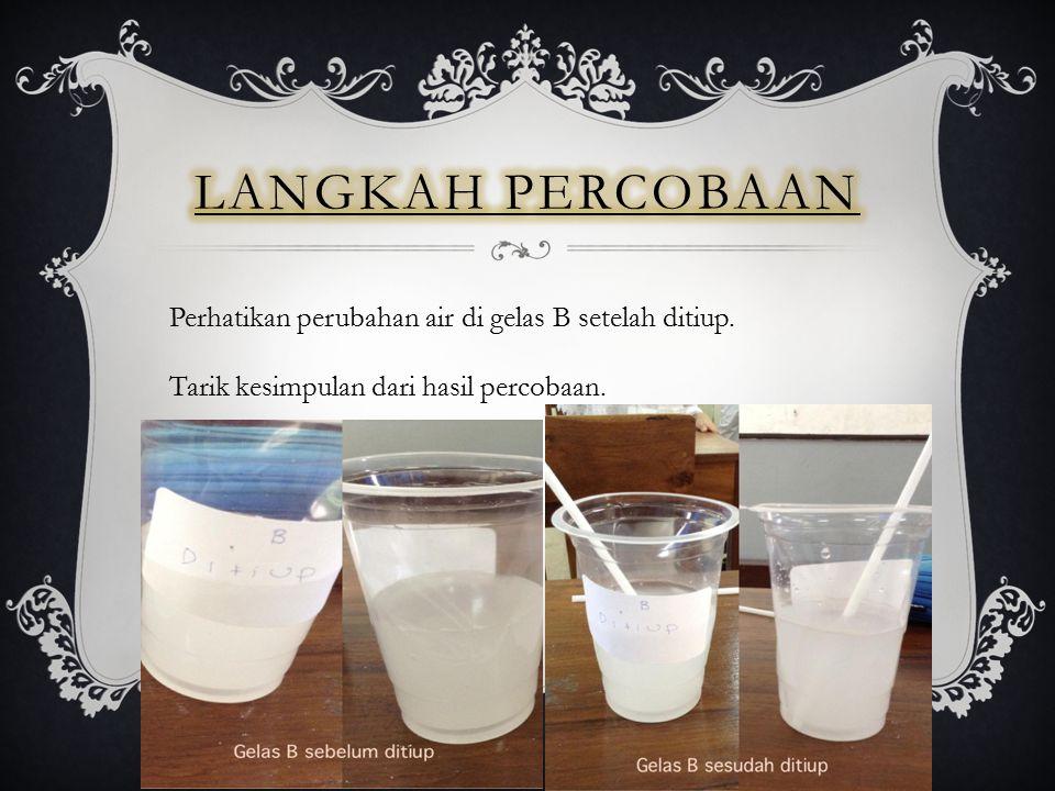 Langkah percobaan Perhatikan perubahan air di gelas B setelah ditiup.