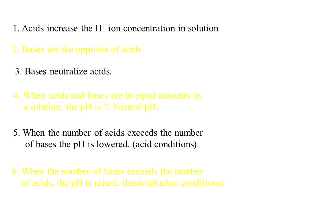 1. Acids increase the H+ ion concentration in solution