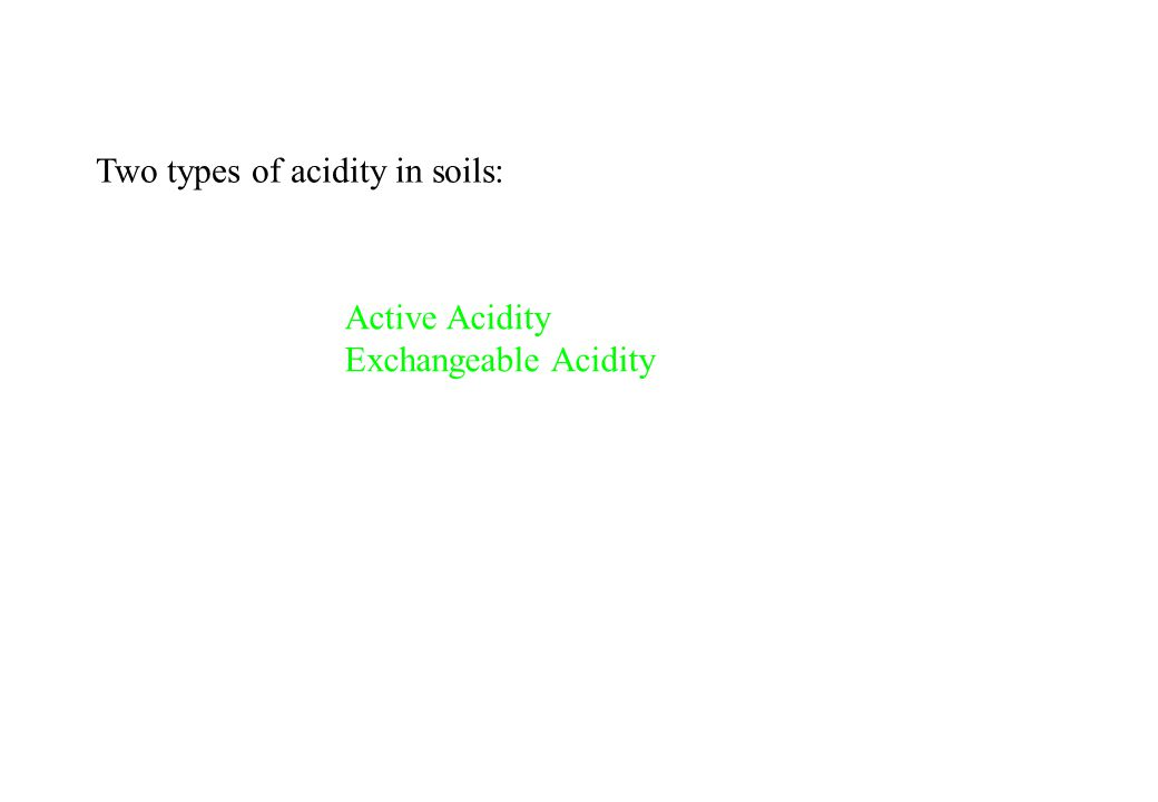 Two types of acidity in soils: