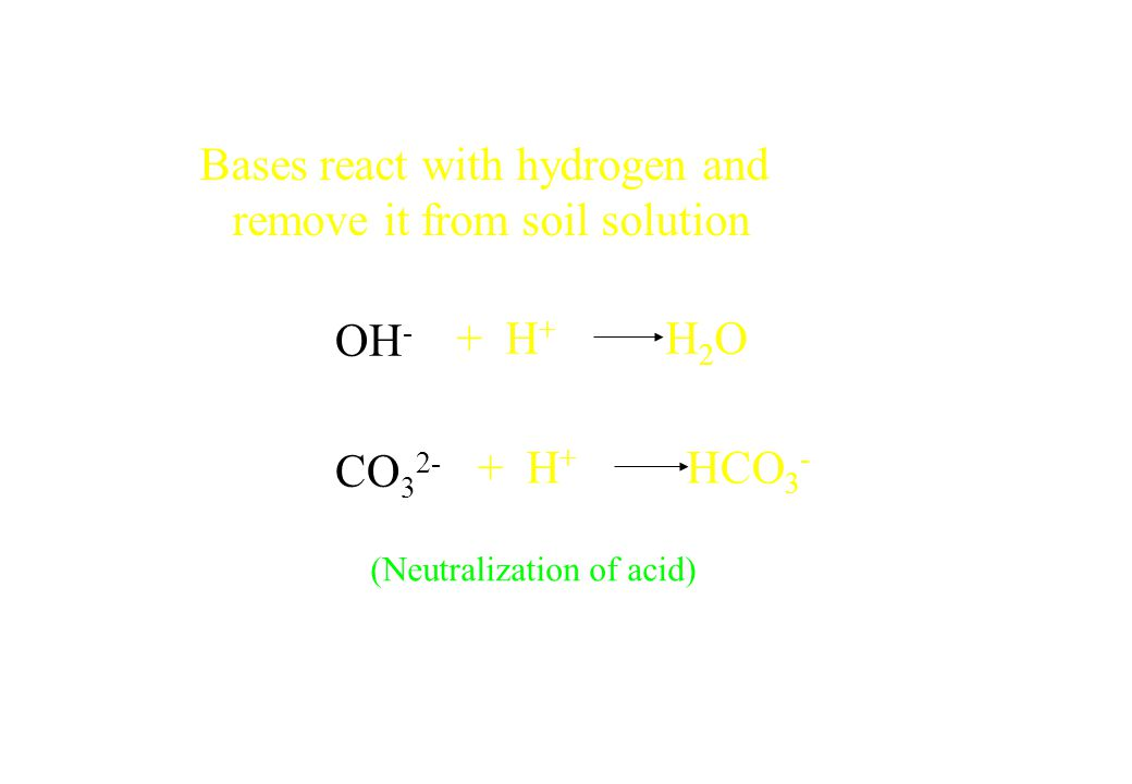 Bases react with hydrogen and remove it from soil solution