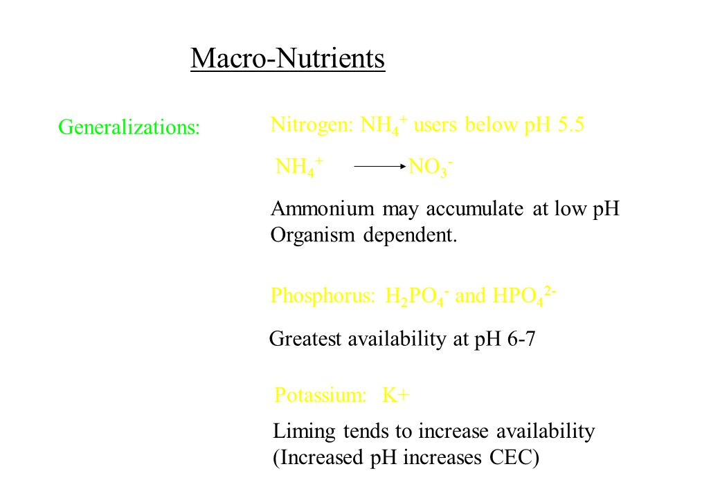Macro-Nutrients Nitrogen: NH4+ users below pH 5.5 Generalizations: