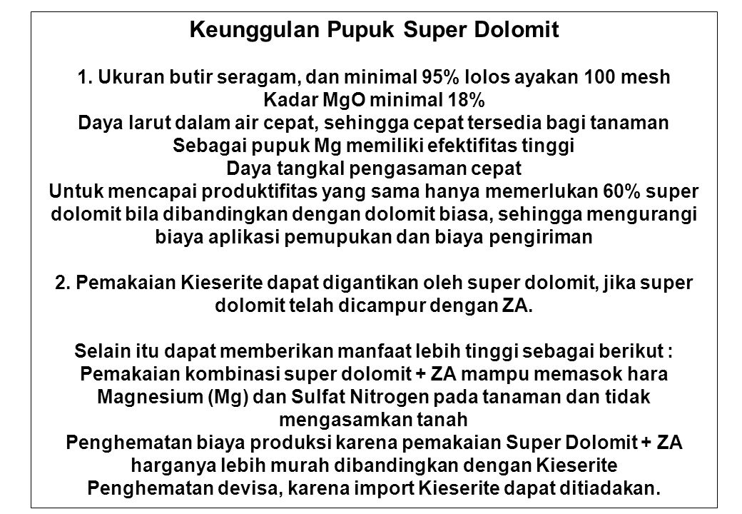 Keunggulan Pupuk Super Dolomit