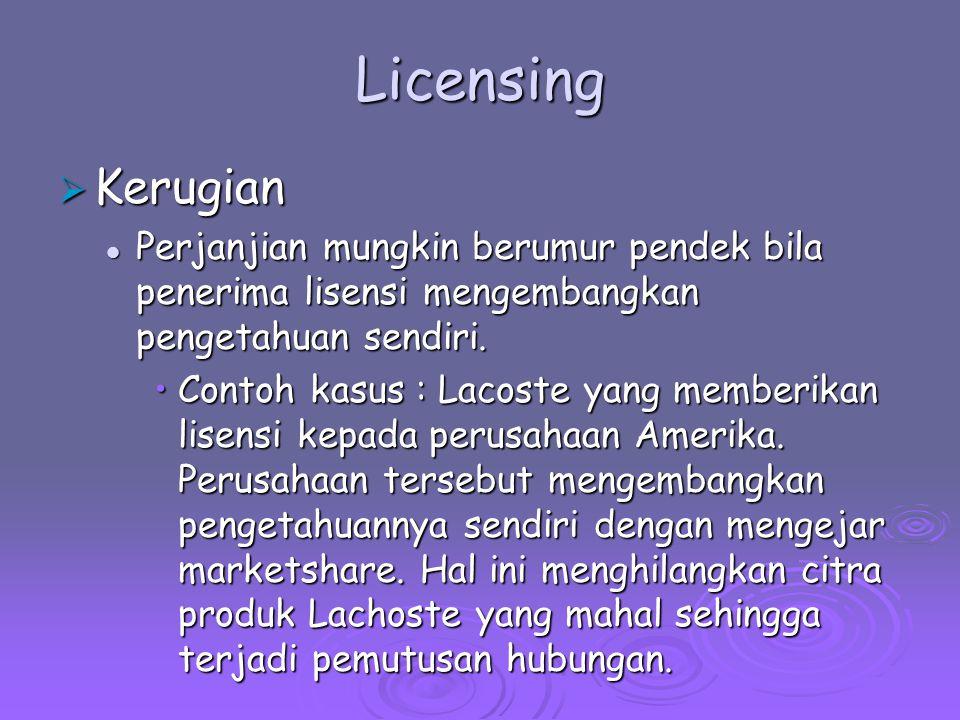 Licensing Kerugian. Perjanjian mungkin berumur pendek bila penerima lisensi mengembangkan pengetahuan sendiri.