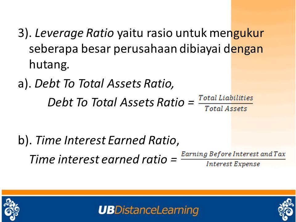 3). Leverage Ratio yaitu rasio untuk mengukur seberapa besar perusahaan dibiayai dengan hutang.