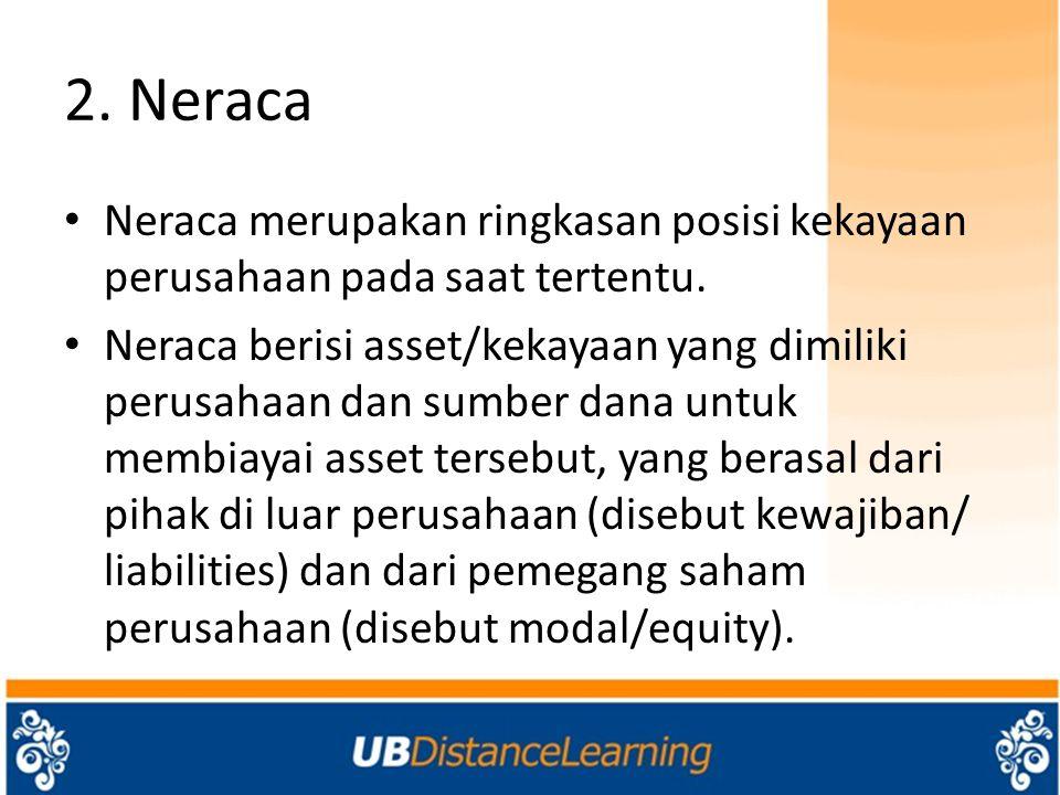 2. Neraca Neraca merupakan ringkasan posisi kekayaan perusahaan pada saat tertentu.