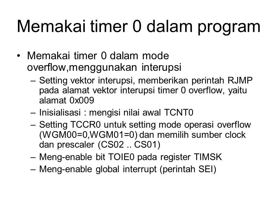 Memakai timer 0 dalam program