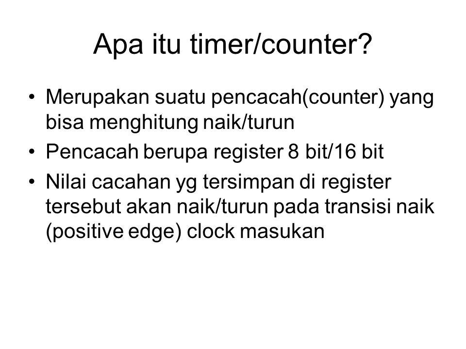 Apa itu timer/counter Merupakan suatu pencacah(counter) yang bisa menghitung naik/turun. Pencacah berupa register 8 bit/16 bit.