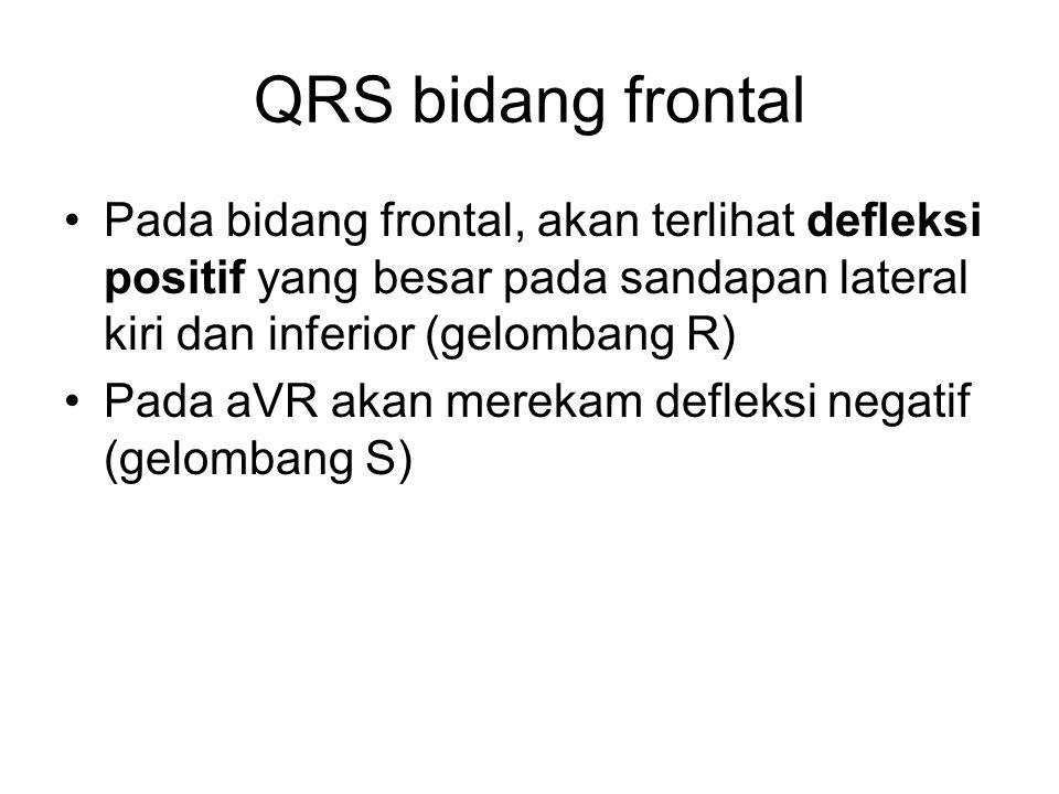 QRS bidang frontal Pada bidang frontal, akan terlihat defleksi positif yang besar pada sandapan lateral kiri dan inferior (gelombang R)
