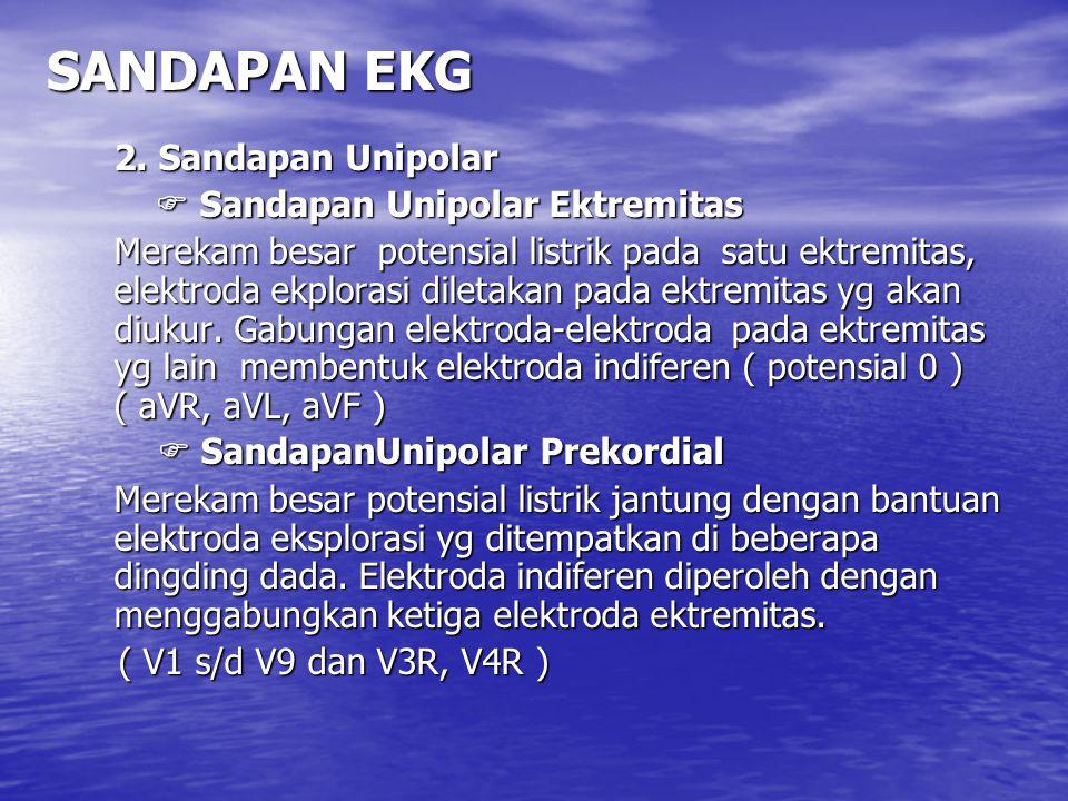 SANDAPAN EKG 2. Sandapan Unipolar  Sandapan Unipolar Ektremitas