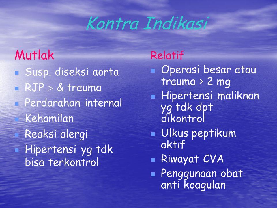 Kontra Indikasi Mutlak Relatif Susp. diseksi aorta