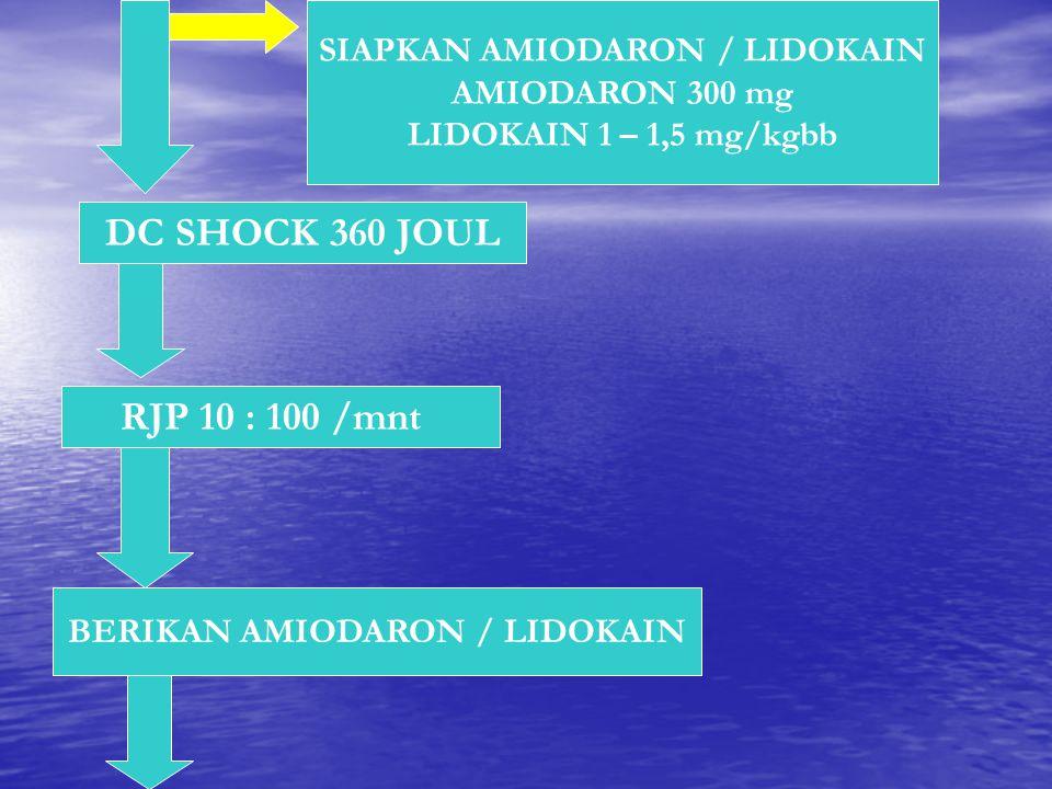 SIAPKAN AMIODARON / LIDOKAIN BERIKAN AMIODARON / LIDOKAIN