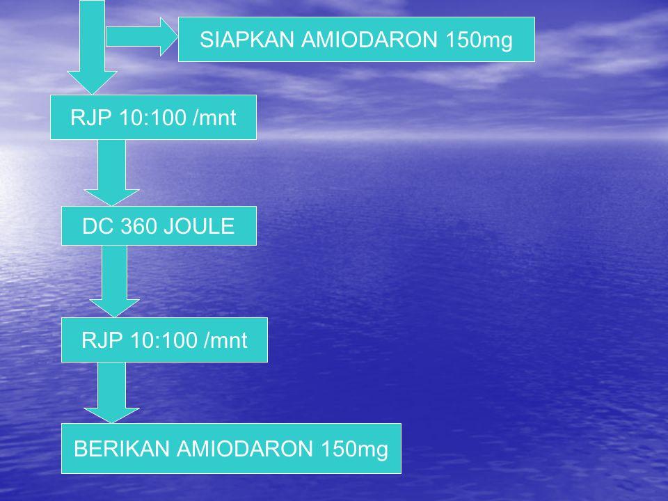 SIAPKAN AMIODARON 150mg RJP 10:100 /mnt DC 360 JOULE RJP 10:100 /mnt BERIKAN AMIODARON 150mg