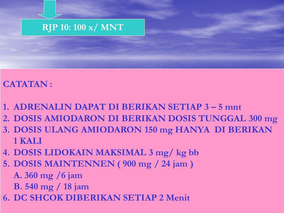 RJP 10: 100 x/ MNT CATATAN : ADRENALIN DAPAT DI BERIKAN SETIAP 3 – 5 mnt. DOSIS AMIODARON DI BERIKAN DOSIS TUNGGAL 300 mg.
